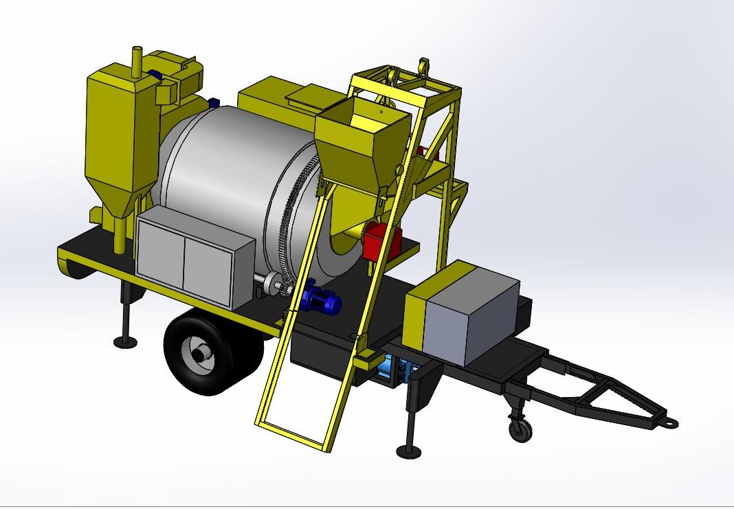 可移动小型沥青制造机3D数模图纸 Solidworks设计