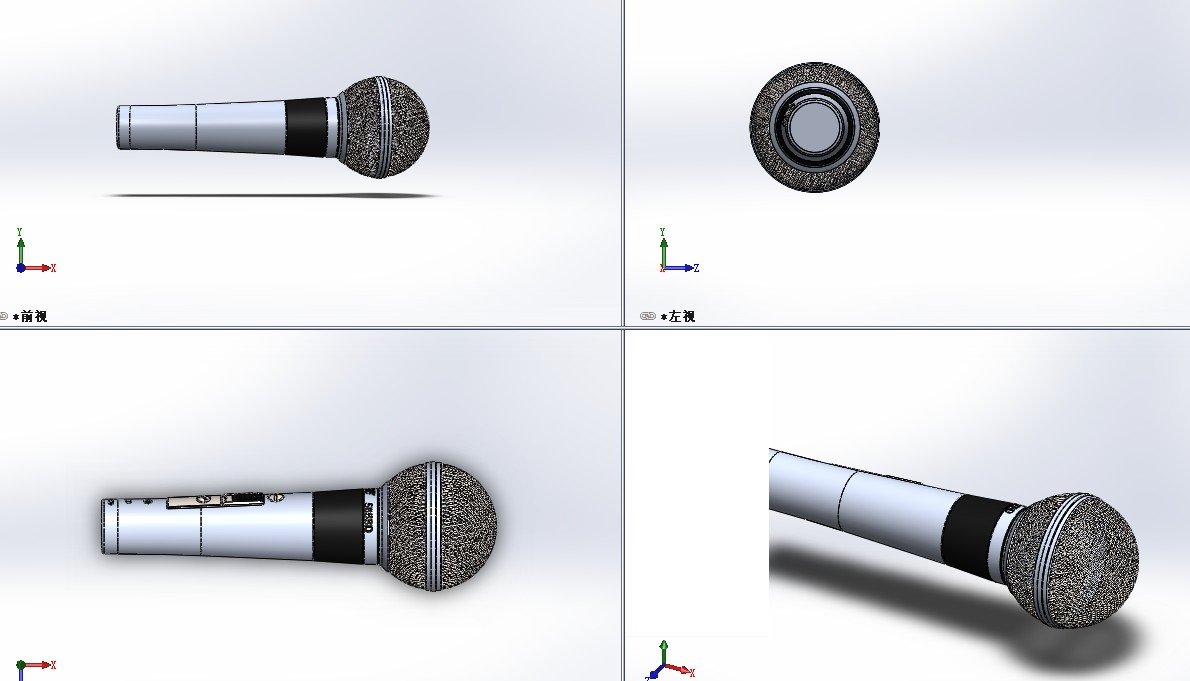 Shure麦克风话筒3D数模图纸 Solidworks设计