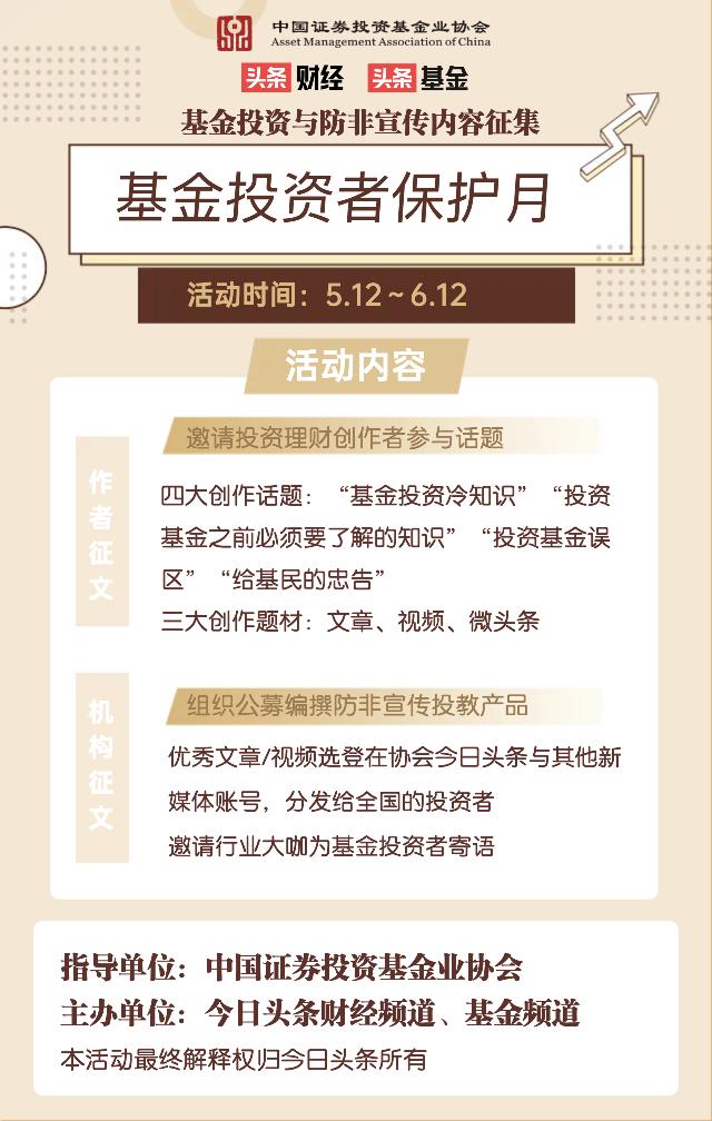"""頭條財經聯合基金業協會開展""""基金投資者保護月""""作品徵集活動"""