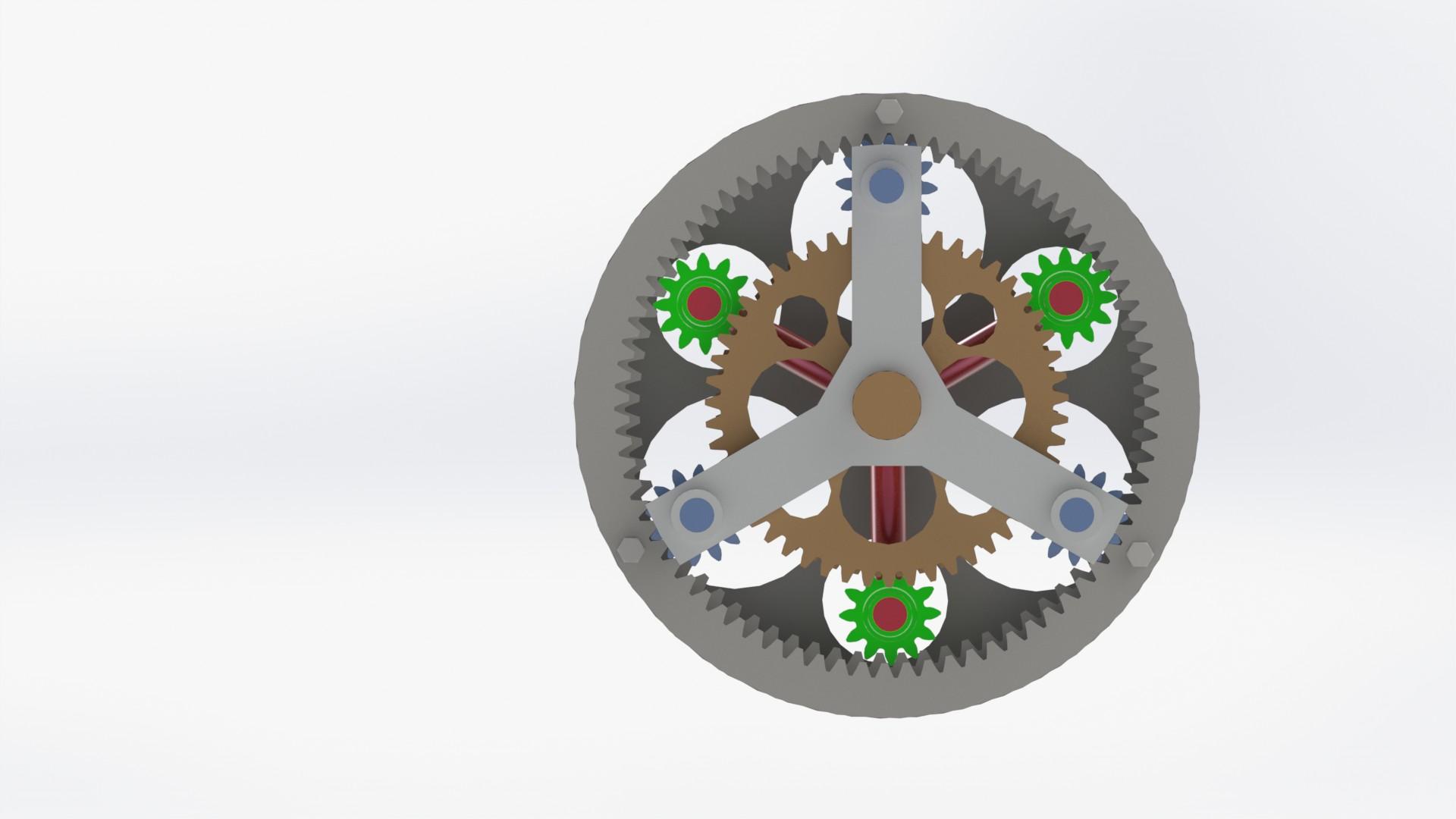 planetary gears行星齿轮演示结构3D图纸 Solidworks设计