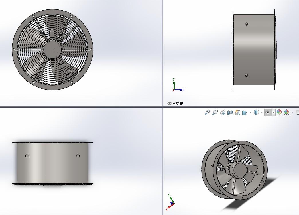 YWF2D-E-350轴流风机3D图纸 Solidworks设计