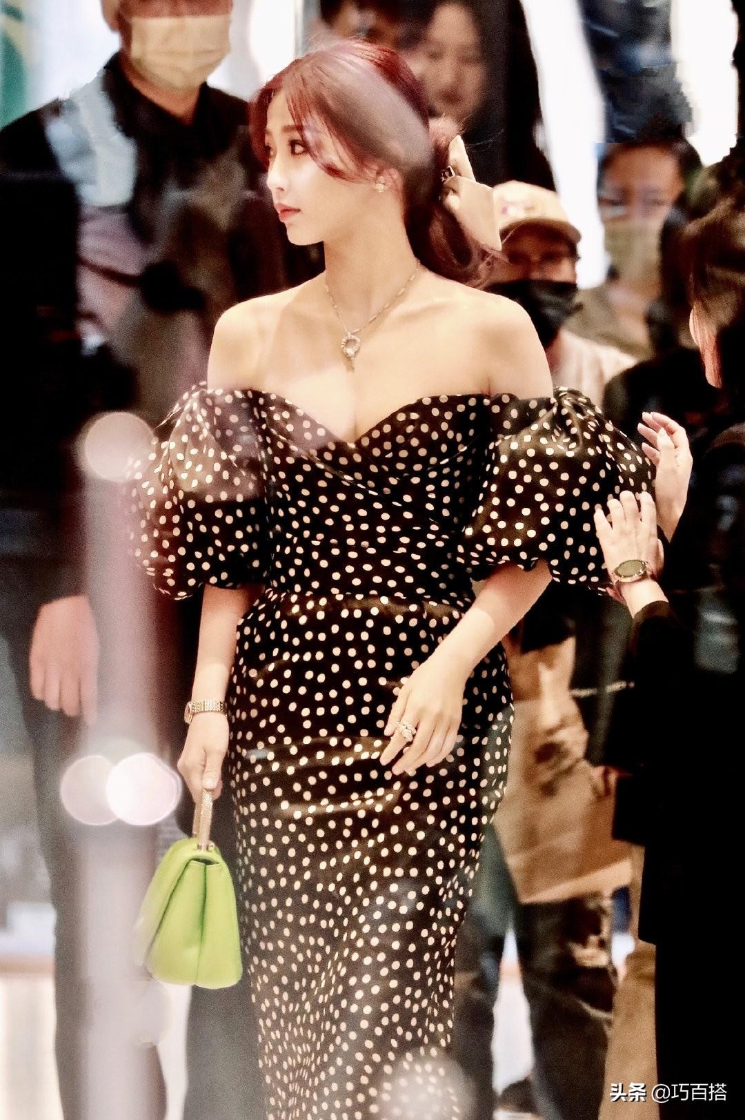 女明星果然还是瘦了美,肉感虞书欣穿抹胸长裙少女感消失,太富态