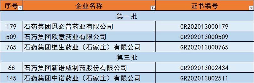 """高新技术企业榜上 石药""""五子登科"""""""