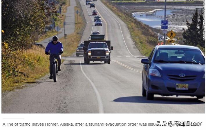美国阿拉斯加发生的里氏7.5级地震引发了海啸