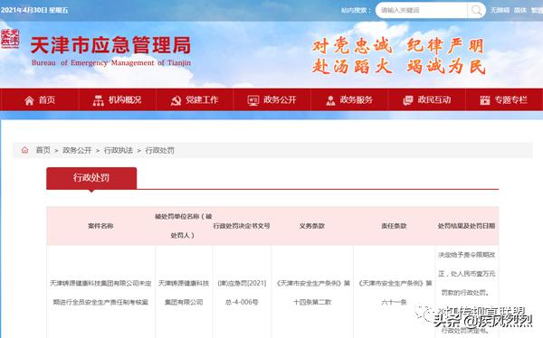 天津铸源集团遭罚1万元 未定期进行全员安全生产责任制考核
