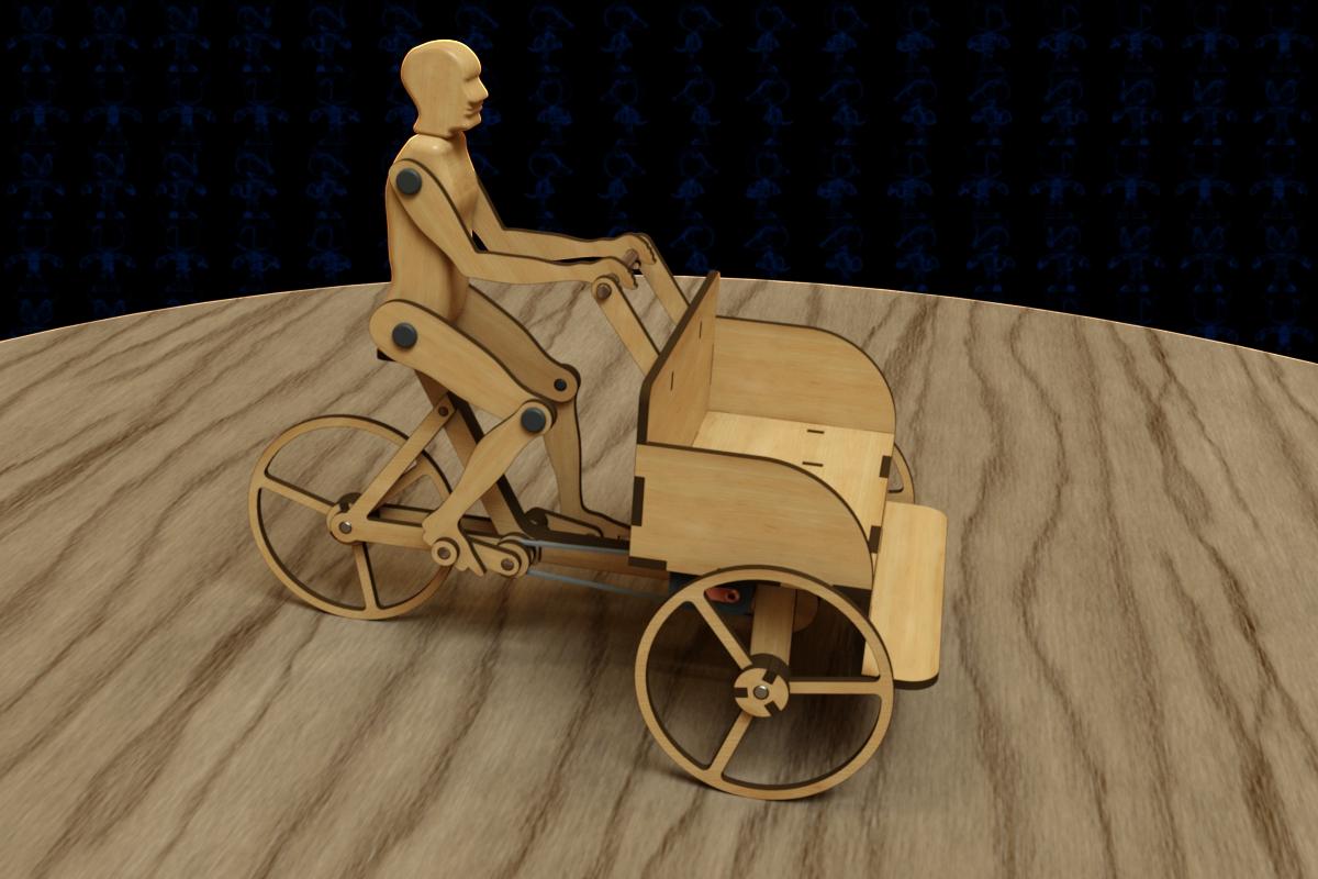 人偶倒骑驴三轮车模型3D图纸 Solidworks2018设计 附多种格式