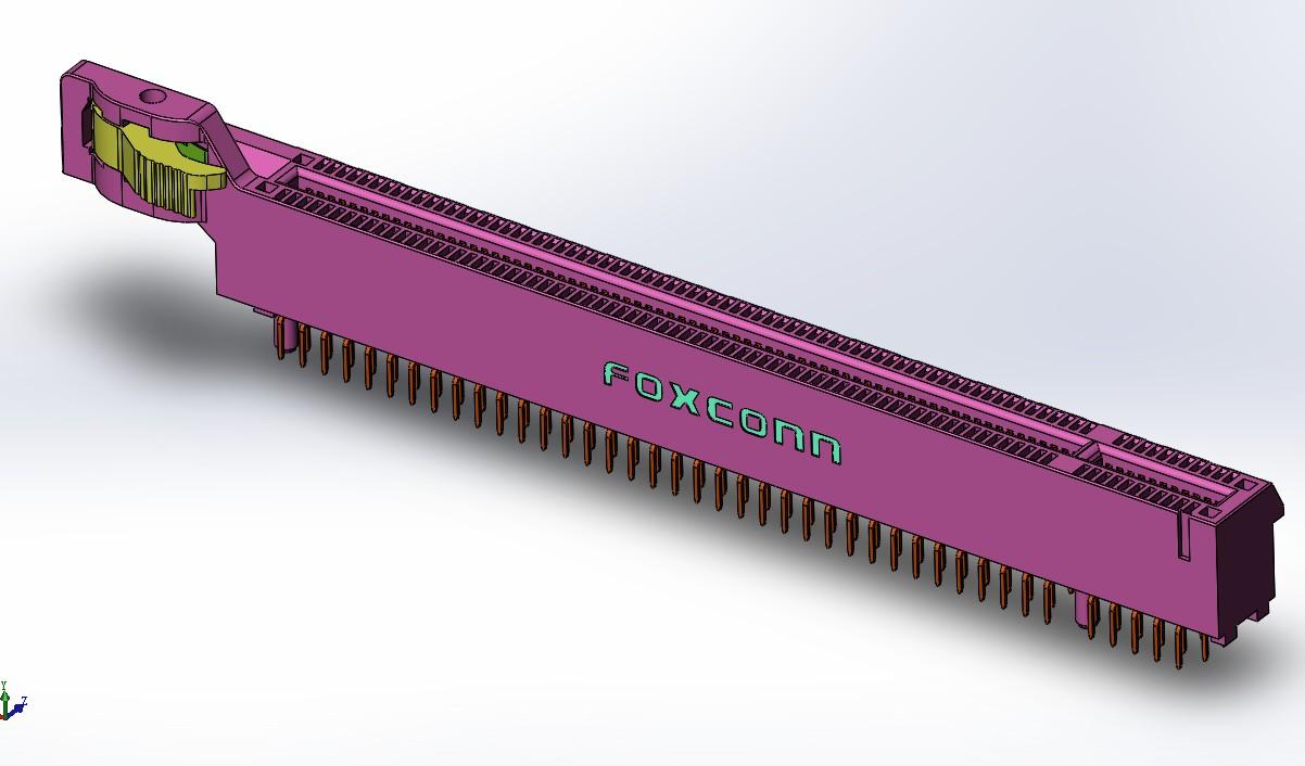 主板PCI Express x16接口插槽模型3D图纸 Solidworks设计 附STEP