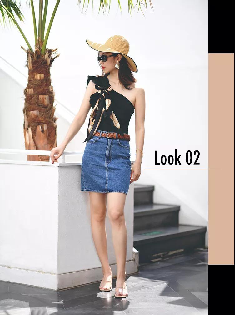 一条牛仔半裙的5种穿法,完美应对你遇到的所有场合