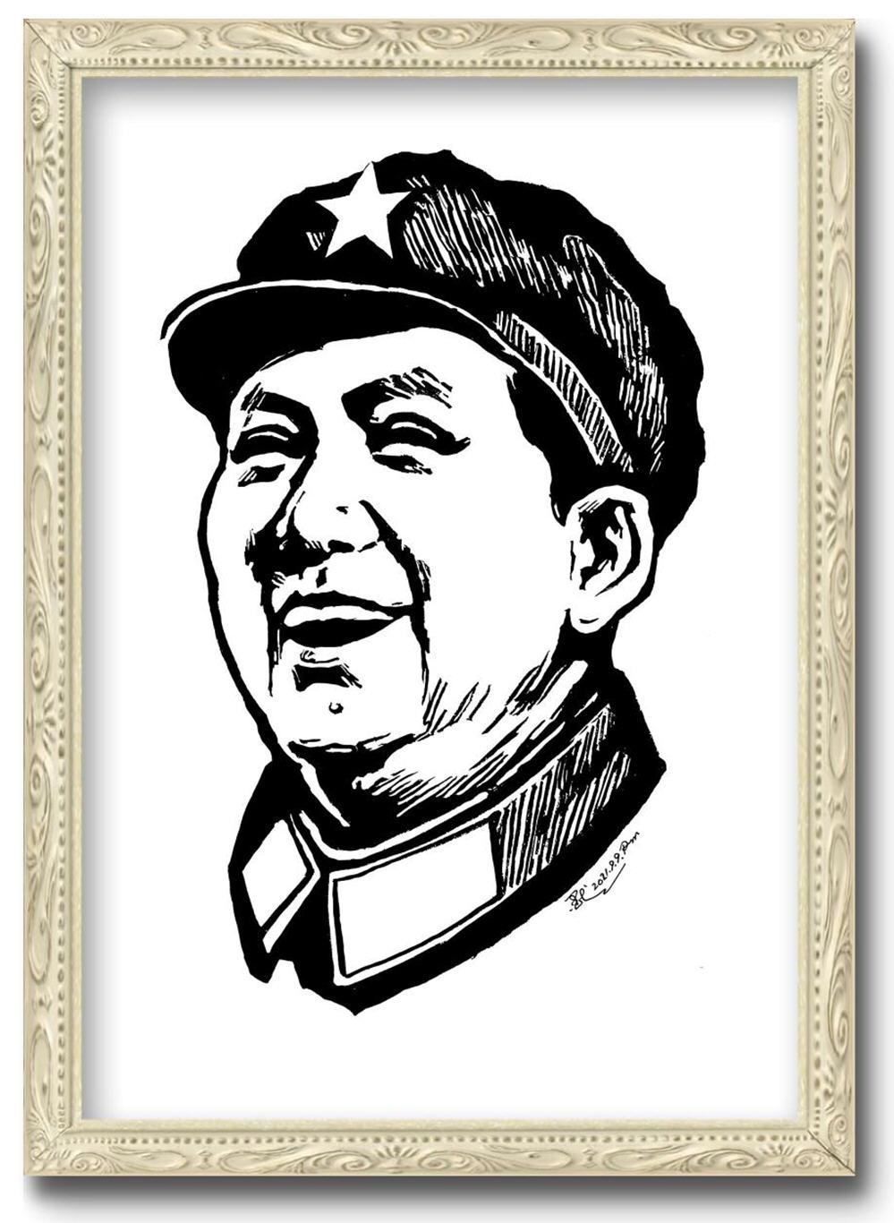 酒香阁画院 今天又画了一幅毛主席版画肖像-纪念伟人