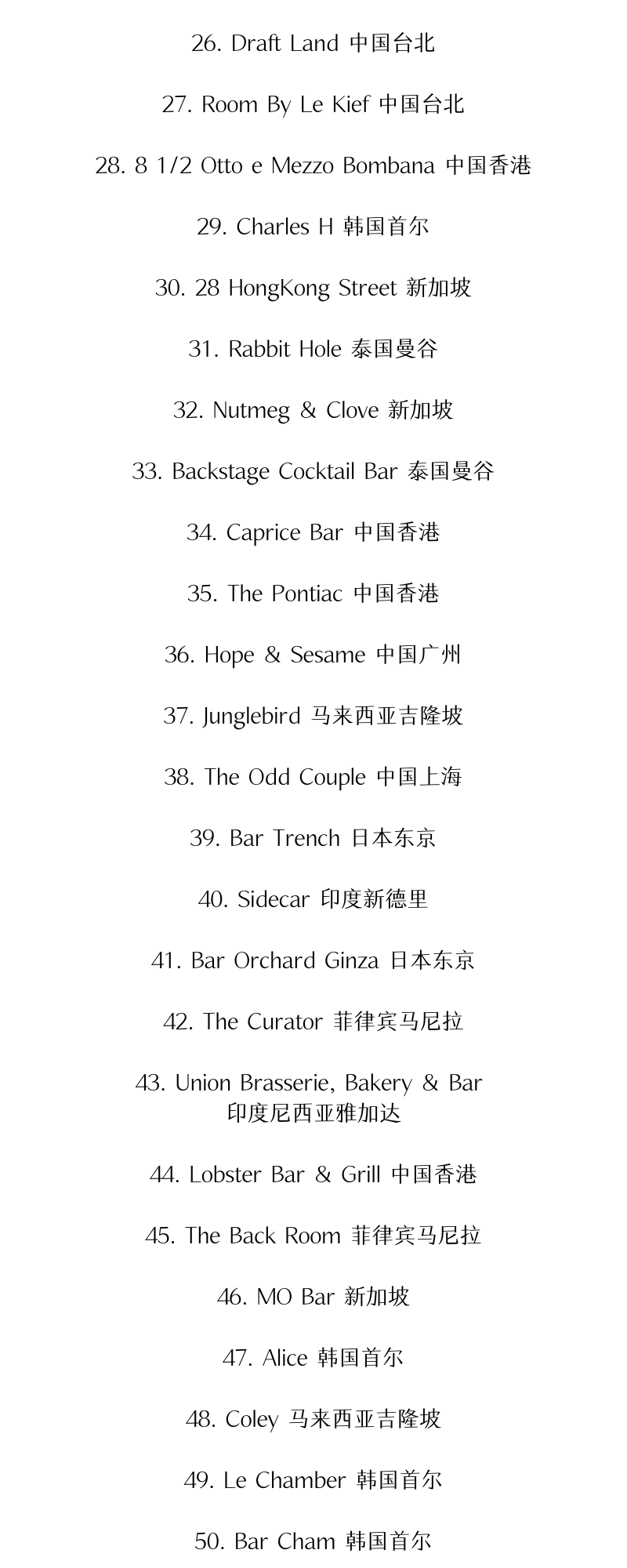 亚洲最佳酒吧榜单 TOP 50,中国上榜的 17 家你去过吗?