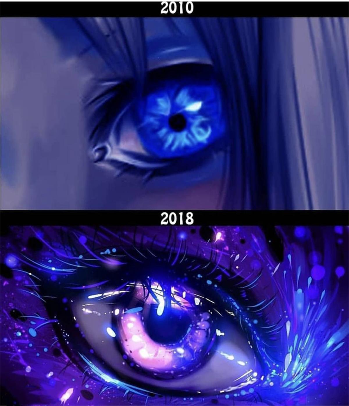 畫師用了十來年時間提高畫技,成為了一個畫眼睛的高手