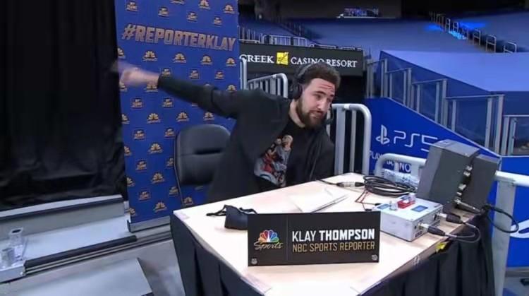 """这很水花!库里27分助队大胜,却和解说席的汤普森""""吵""""了起来"""