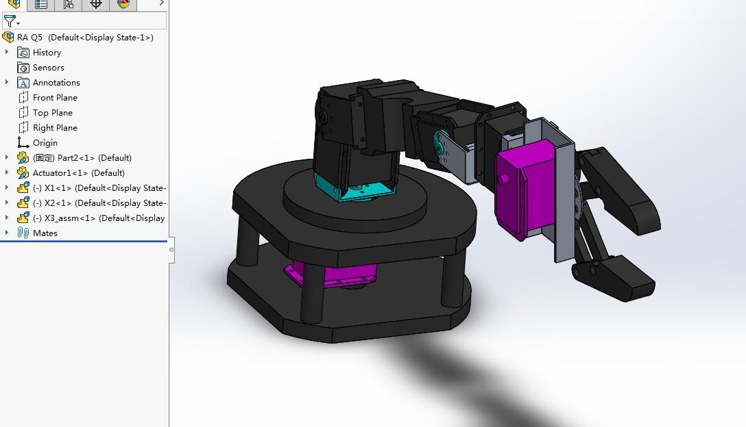 cswp简易机械手机械臂演示结构3D图纸 Solidworks设计