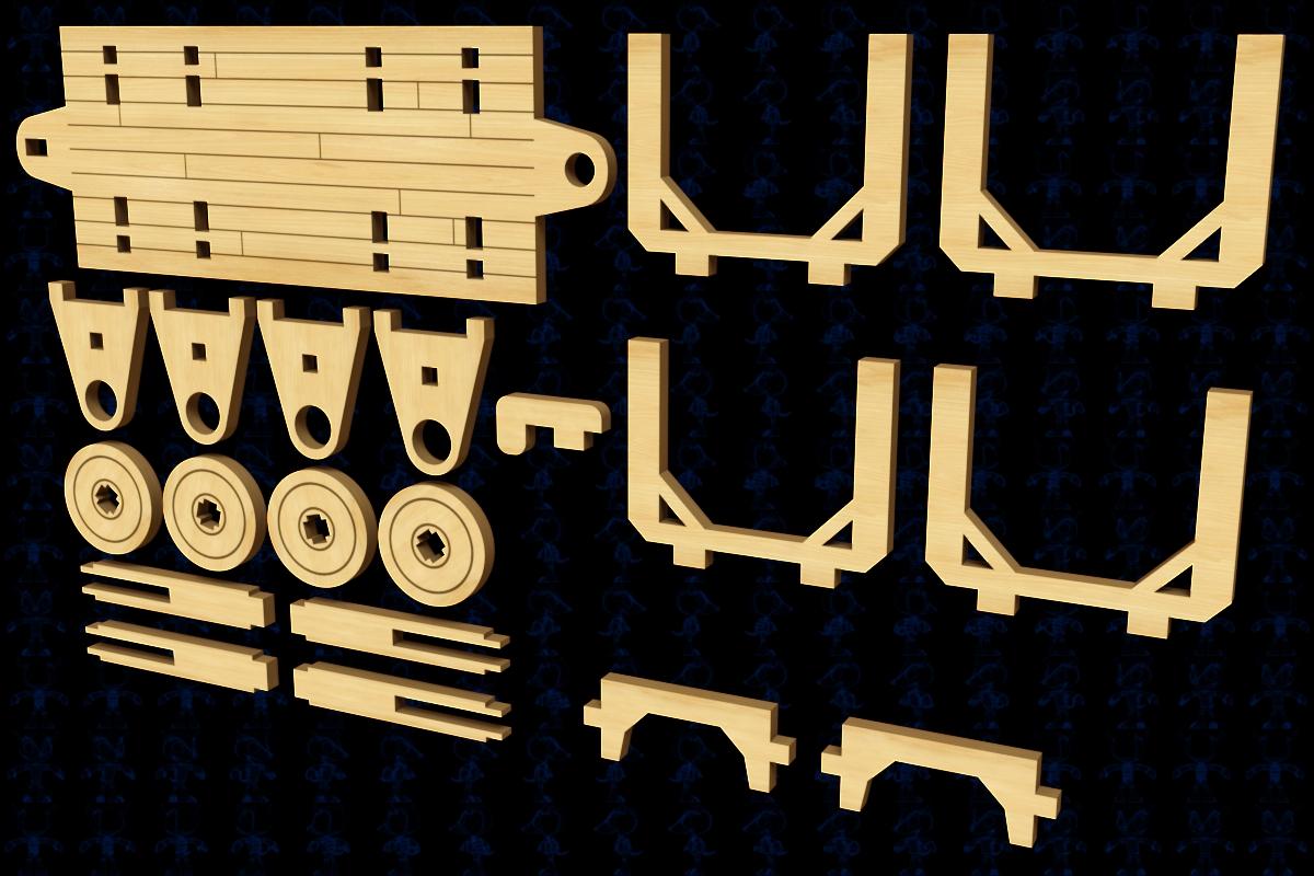 Novogodniy木制火车拼装激光切割模型3D图纸 Solidworks 多种格式
