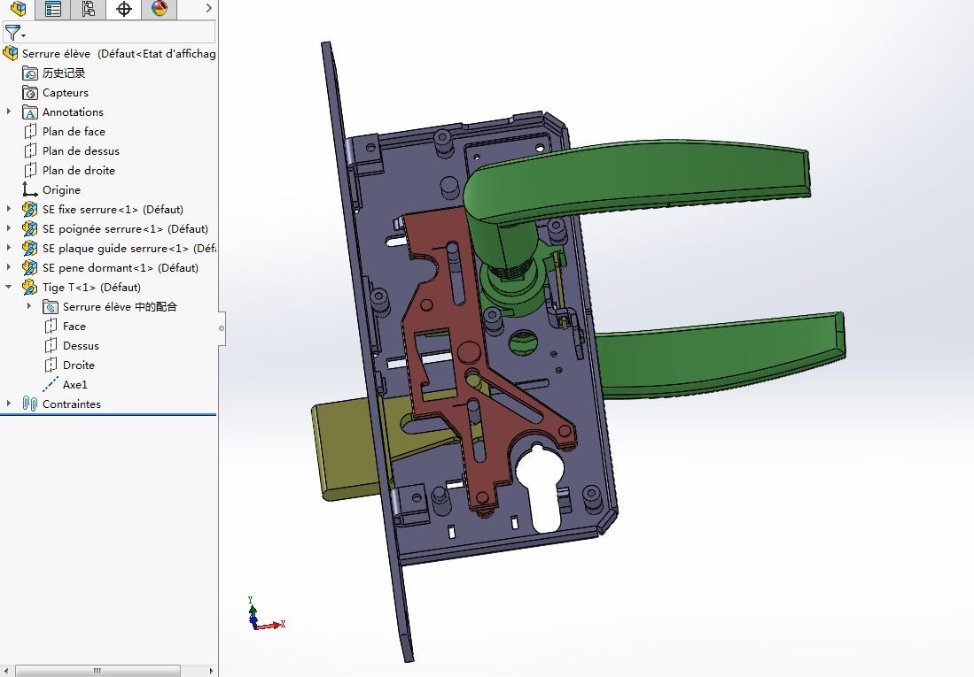 biometric拉手门锁内部结构3D图纸 Solidworks设计