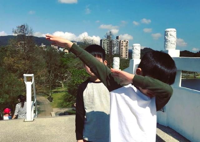 陳若儀帶兒子戶外嬉戲,雙子星越長越不像,一個隨媽一個像爸