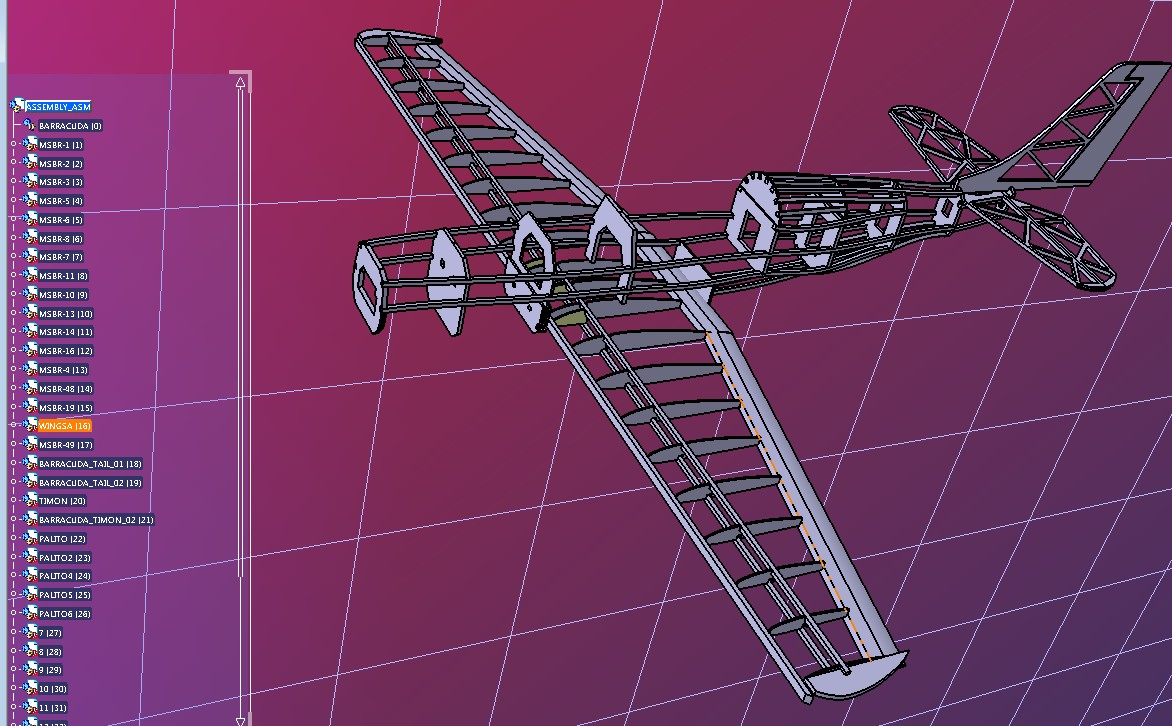 Barracuda航模框架结构3D图纸 STP格式