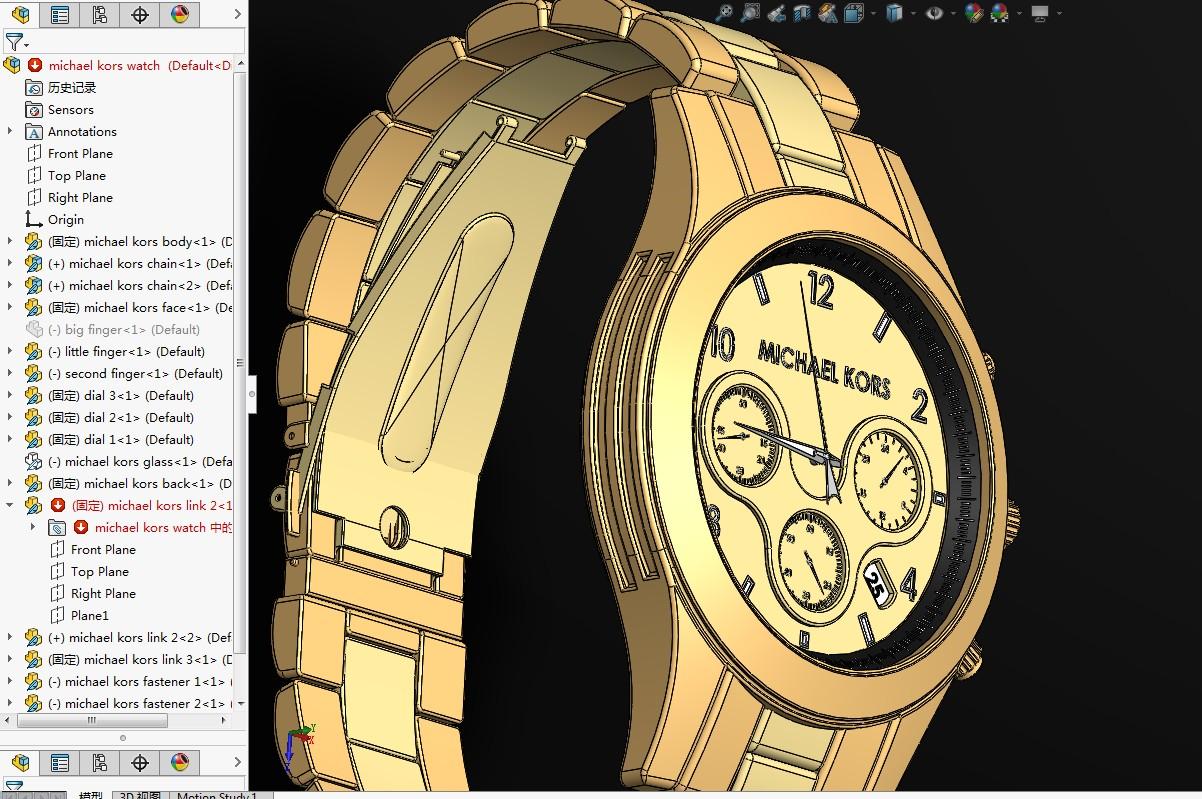 michael kors金手表模型3D图纸 Solidworks设计