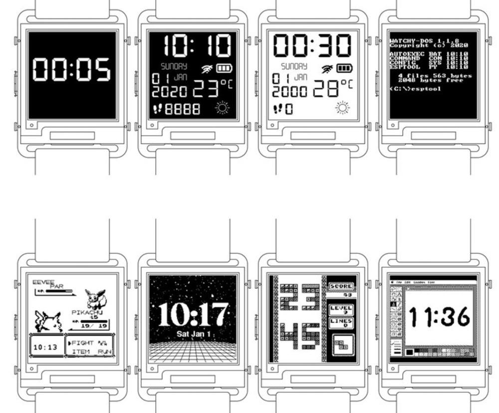 这块DIY墨水屏手表外观可盐可甜,无线蓝牙计步闹钟一应俱全   开源