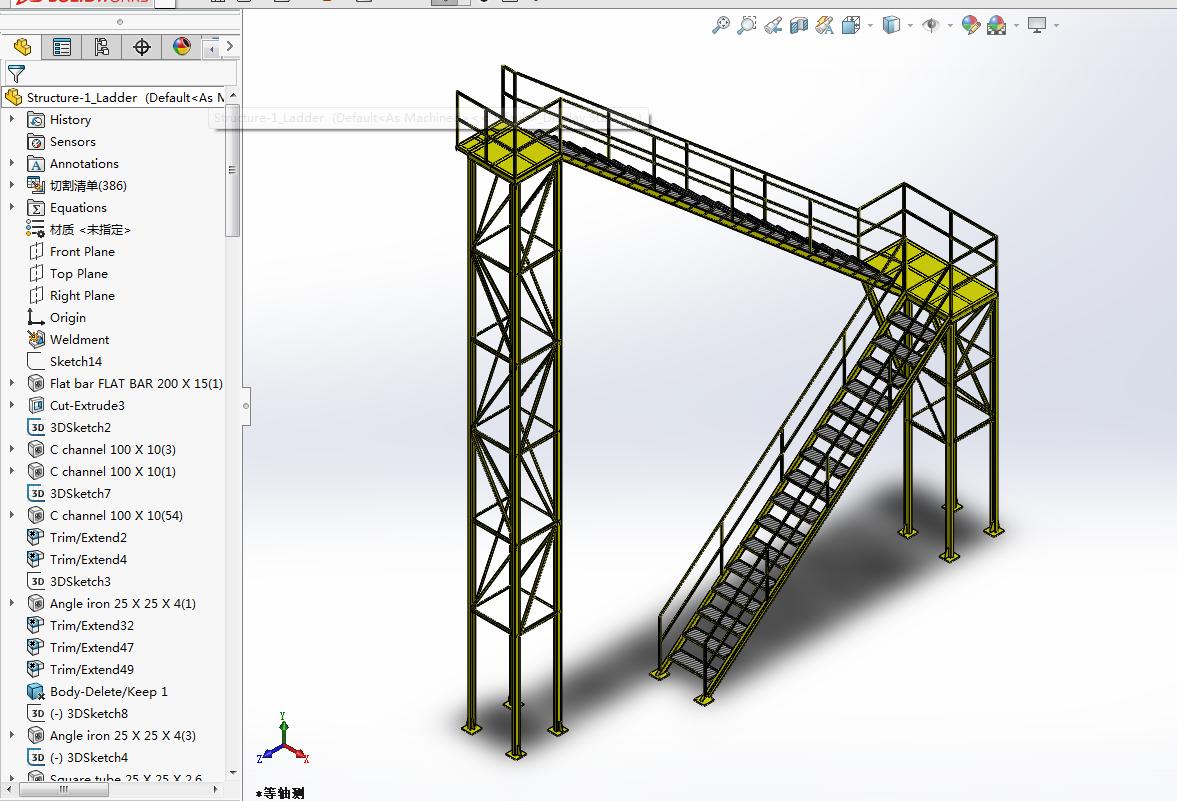 ladder工业高台钢结构楼梯结构3D图纸 Solidworks设计