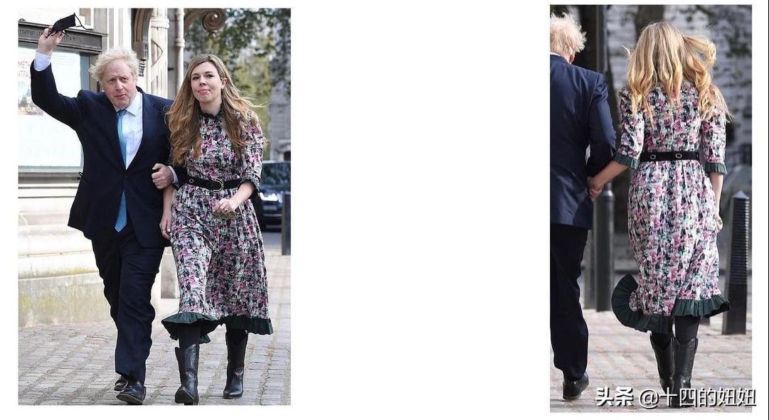 英首相女友久违露面,首染红发走路霸气,鲍里斯挽她手臂变小男人