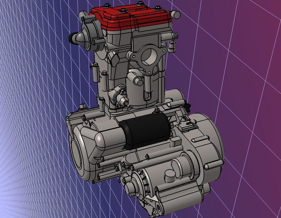 Husqvarna SM 630摩托车发动机模型3D图纸 STEP格式