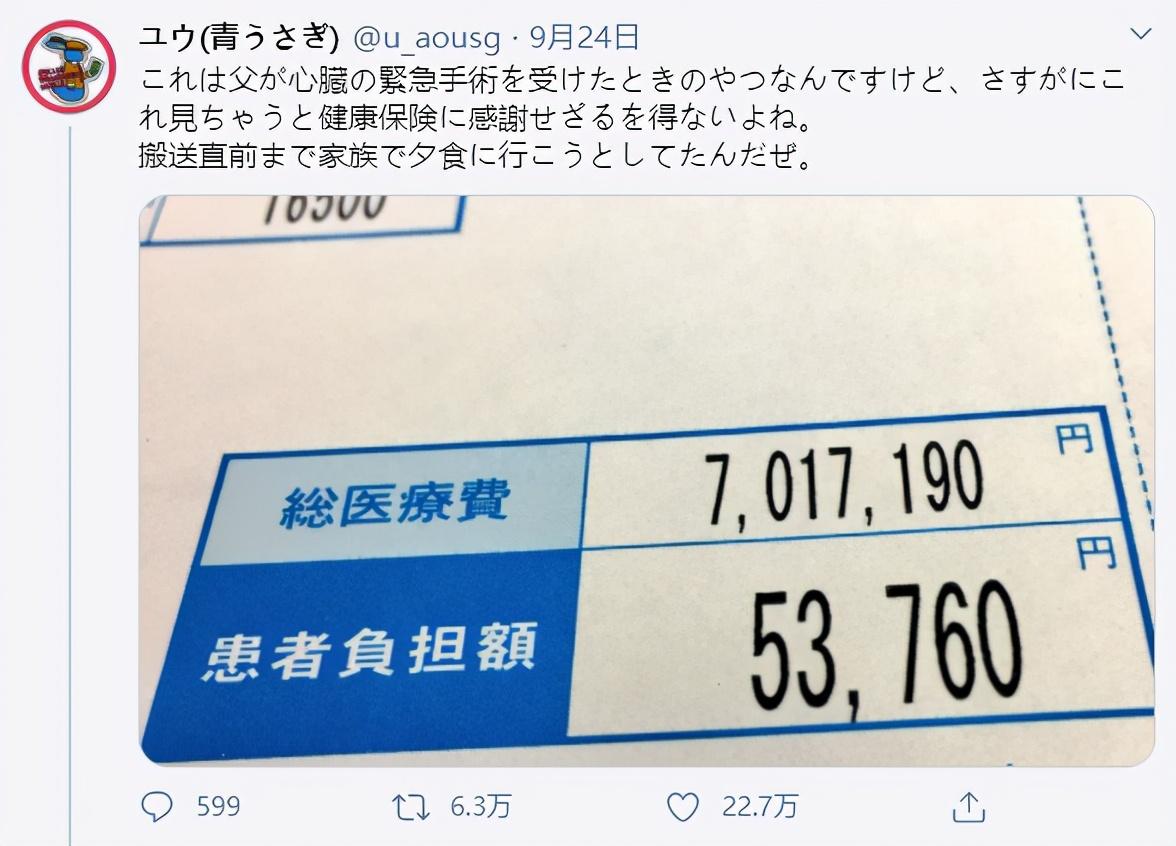 日本网友晒医院账单:45万手术费只收3千5!网友:要在美国…