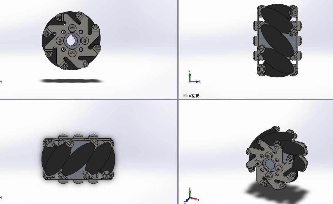 omni wheel麦克纳姆轮3D数模图纸 Solidworks设计