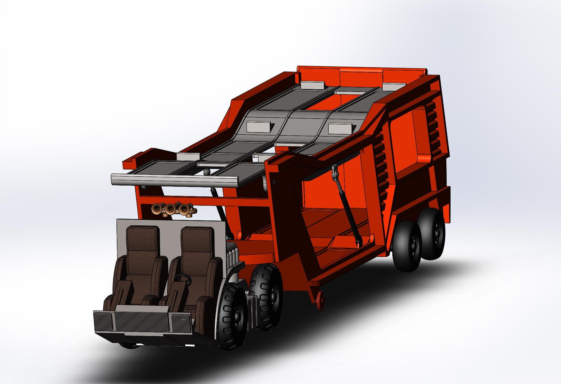 运货车玩具车模型3D图纸 Solidworks设计 附STEP