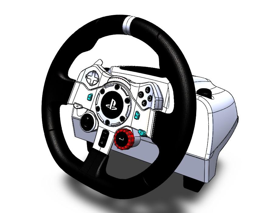 Logitech g29赛车方向盘模型3D图纸 Solidworks设计