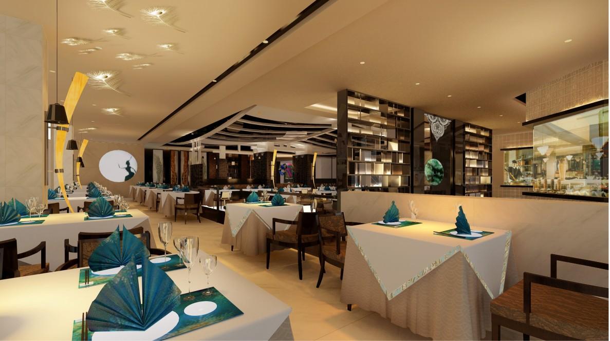汉唐建设集团:新中式餐厅装修内部要么布?