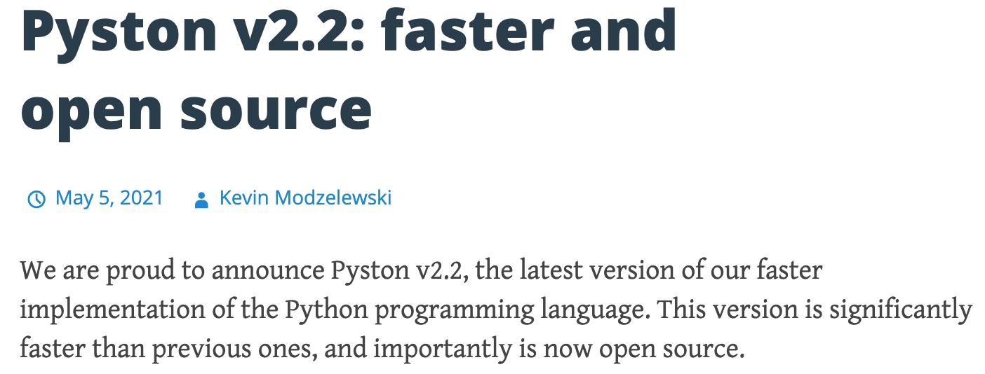 Pyston2.2稳定版发布:回归开源,比网络基准快30%