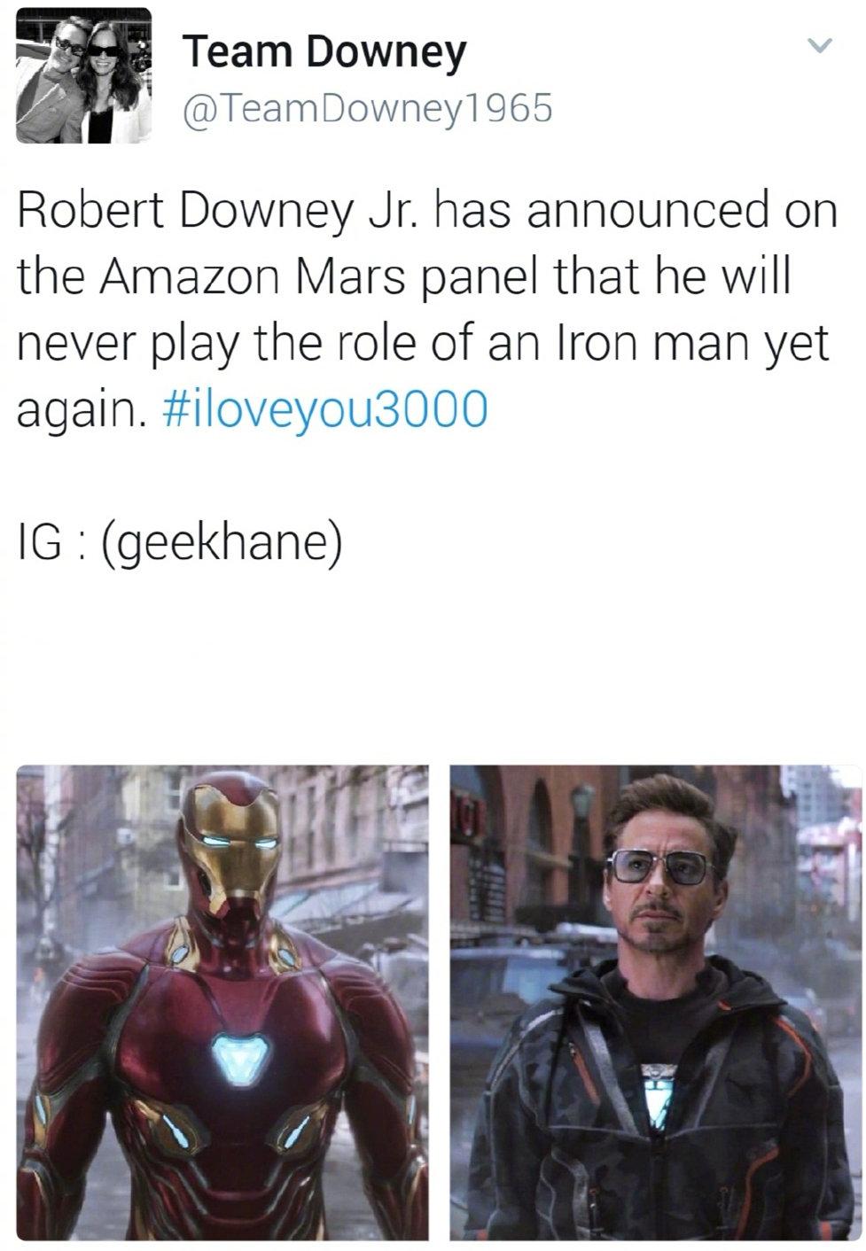 """小罗伯特·唐尼确认不再出演钢铁侠,""""爱你3000遍""""成最终告别"""