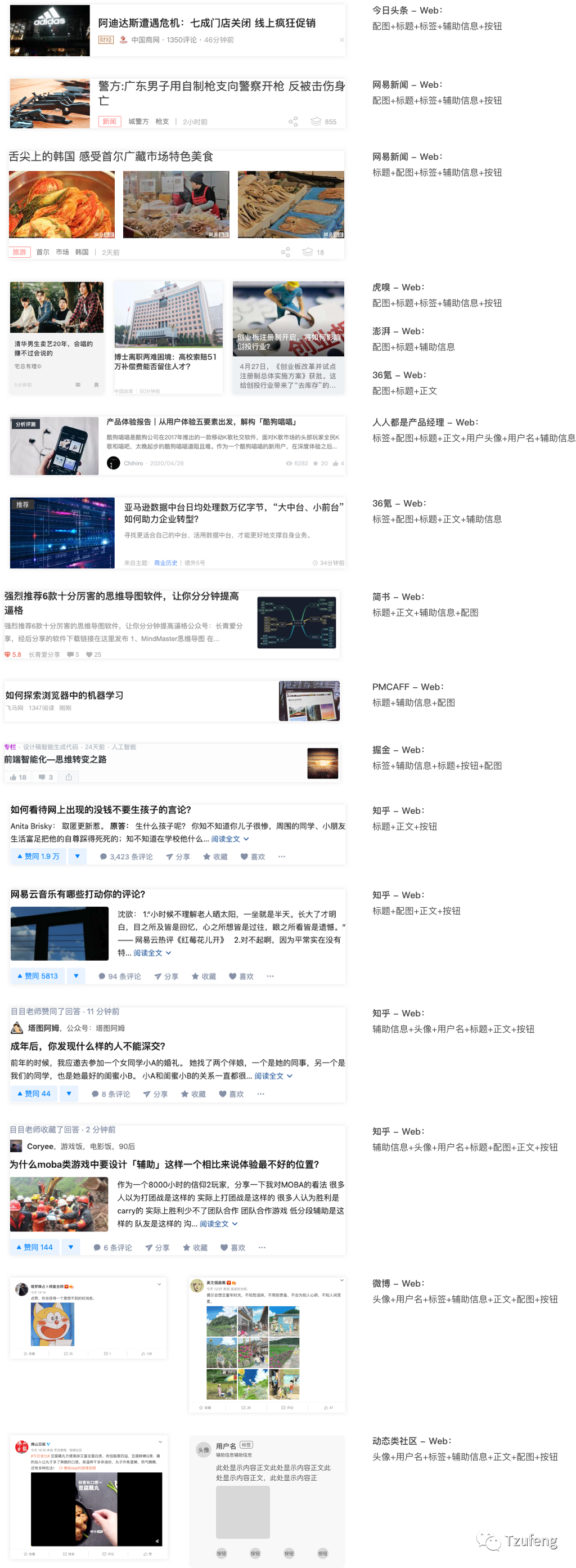 几种常见的Web端Feed设计模式