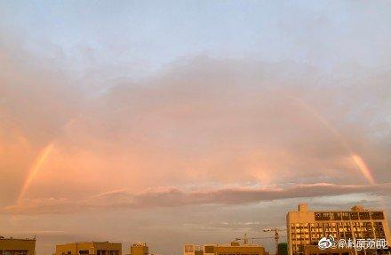 今日份惊喜!当成都日出遇见彩虹