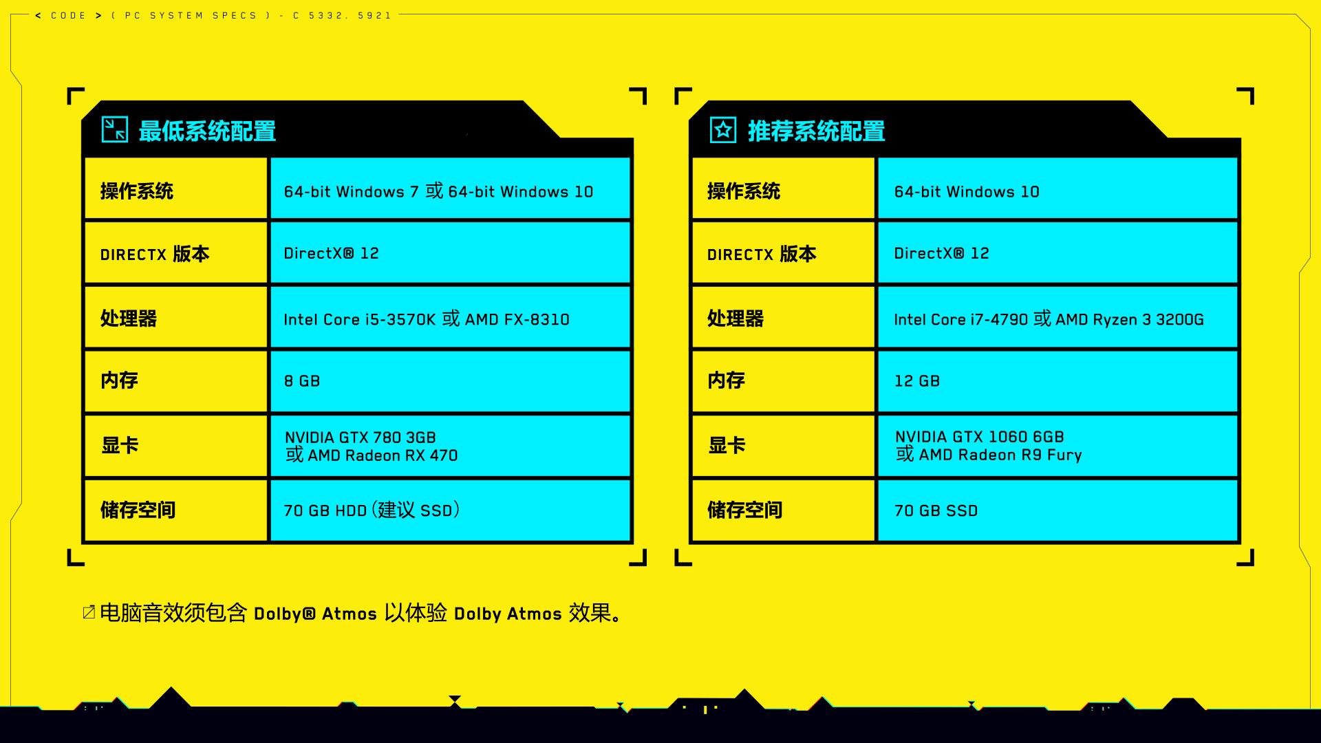 《赛博朋克2077》配置公布 i5、GTX780、空间70G即可
