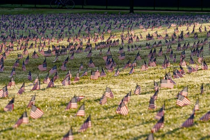 面向白宫!美国志愿者在国家广场插2万国旗 纪念20万新冠死者