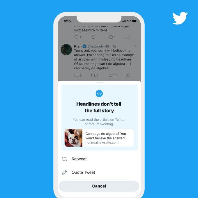 """推特网将为所有用户带来""""转发前阅读""""的提示"""