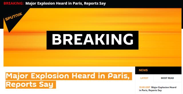 外媒:法国巴黎发生重大爆炸事件