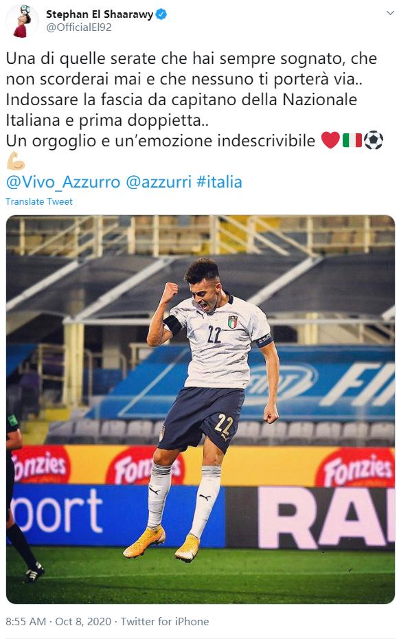 沙拉维:担任意大利队长并打进2球,是种难以形容的自豪