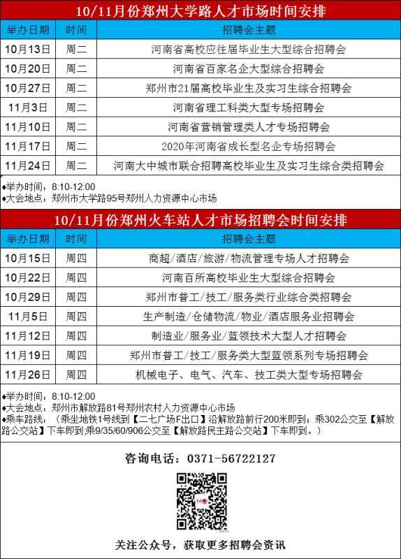 求职者:10月郑州有6场招聘会,2.8万余个就业岗位等你来