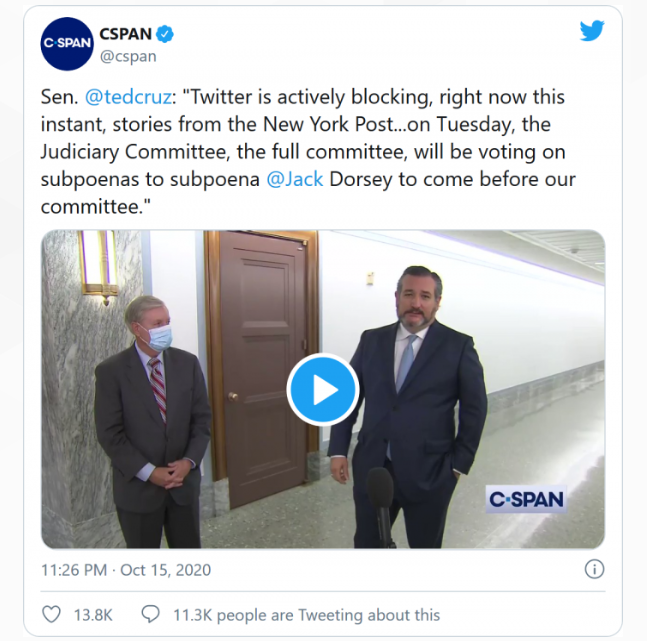Twitter不再屏蔽《纽约邮报》关于拜登之子报道的文章链接
