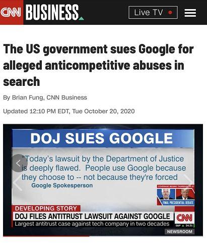只有谷歌倒下了,才有千万个谷歌站起来?美国司法部起诉谷歌垄断(图1)