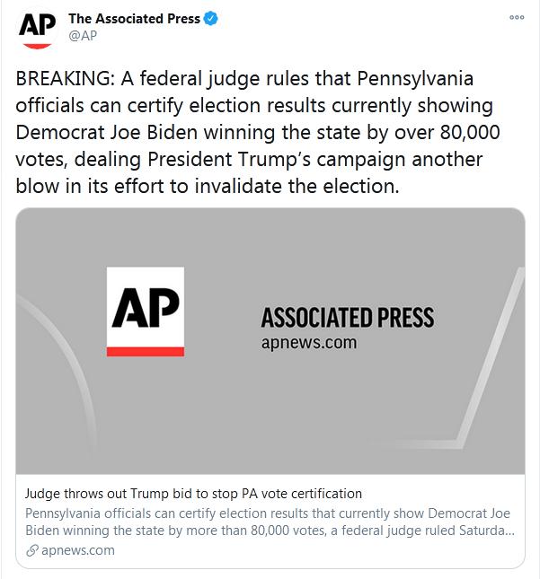 美媒:一联邦法官判定,拜登以超8万张选票赢下宾夕法尼亚州