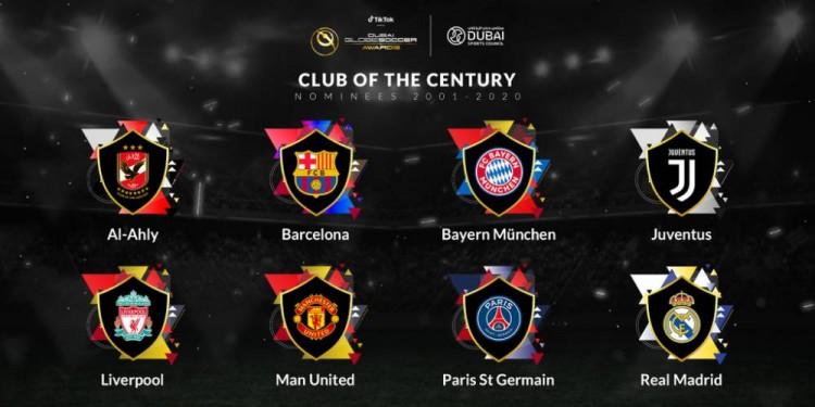 环球足球奖2001-2020年最佳球队8支候选:皇萨仁&曼联红军尤文