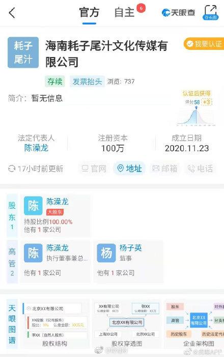 耗子尾汁文化传媒有限公司在海南省注册成立