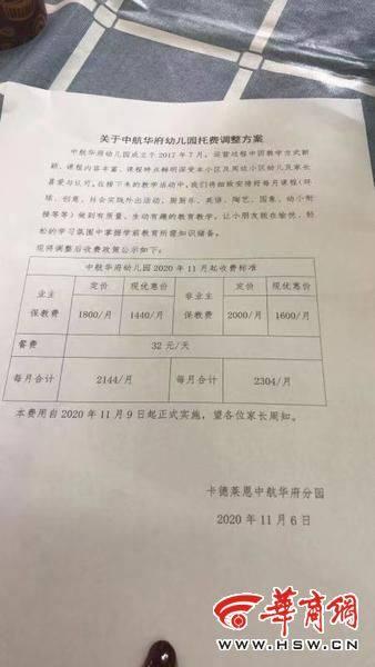 """家長質疑!西安中航華府幼兒園私立轉公辦僅兩月就""""漲價""""?"""
