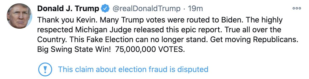 拜登正式赢得大选后,特朗普深夜发推:投给我的很多选票都算给了拜登