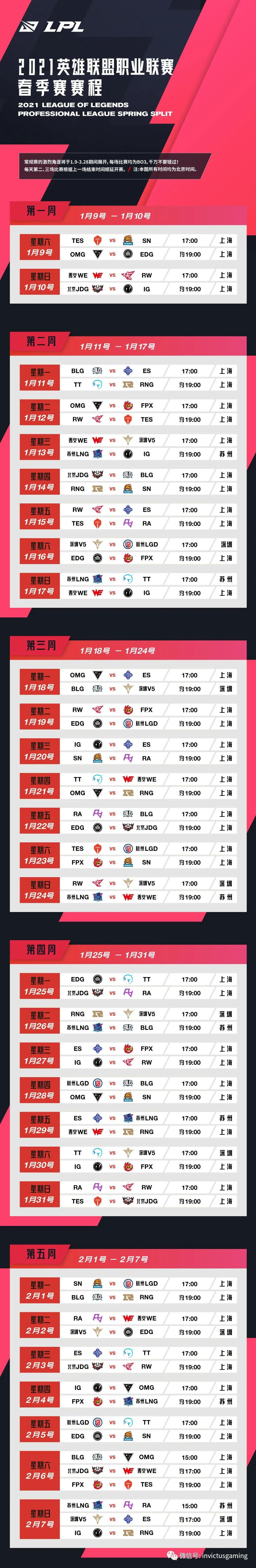 「LOL」2021LPL春季赛赛程公布