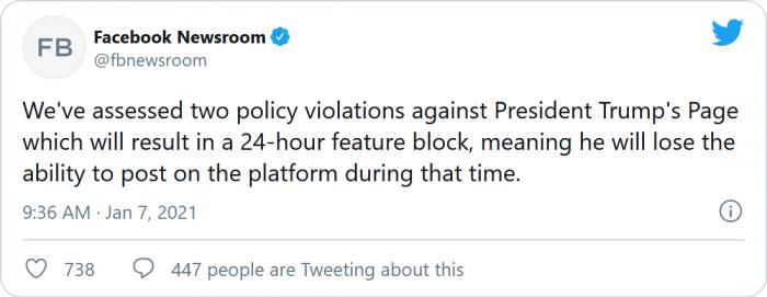 特朗普Facebook账号被禁言24小时